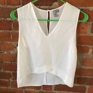 White cropped sleeveless top